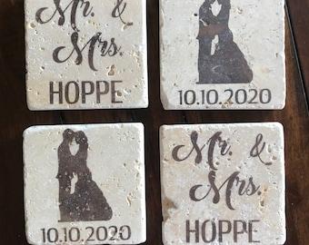 Wedding Gift - Wedding Coasters - Bridal Party Gift - Housewarming Gift - Custom Coasters