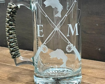 Fishing Beer Mug - Fishing Gift - Fisherman Gift -  Etched Beer Mug - State Gift - Custom State Fishing Gift