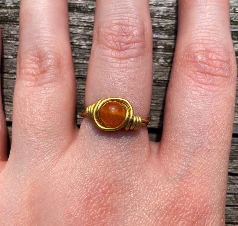 Orange Quartzite Ring Gemstone Jewelry Gemstone Ring Orange Stone Ring Orange Quartzite Stone Wire Wrapped Ring