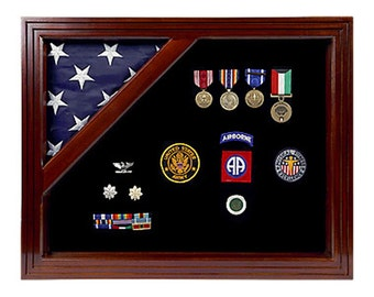 Colonial Military Shadow Box - For Smaller Flag- Solid Mahogany