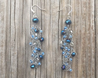 FREE SHIPPING Crochet Wire Earrings Wire Bead Earrings Crochet Earrings Crochet Wire Jewelry Mothers Day