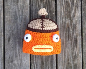 10785a5e182 Fish Hat Gamer Skin Gamer Gift Fishstick Video Game Hat Orange Fish Crochet  Gaming Gift Ready to Ship!