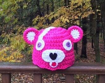 971c1d3b888d1 Pink Bear Hat Pink Panda Bear Skin Gamer Gift Bear Hat Gamer Hat Crochet  Ready to Ship!