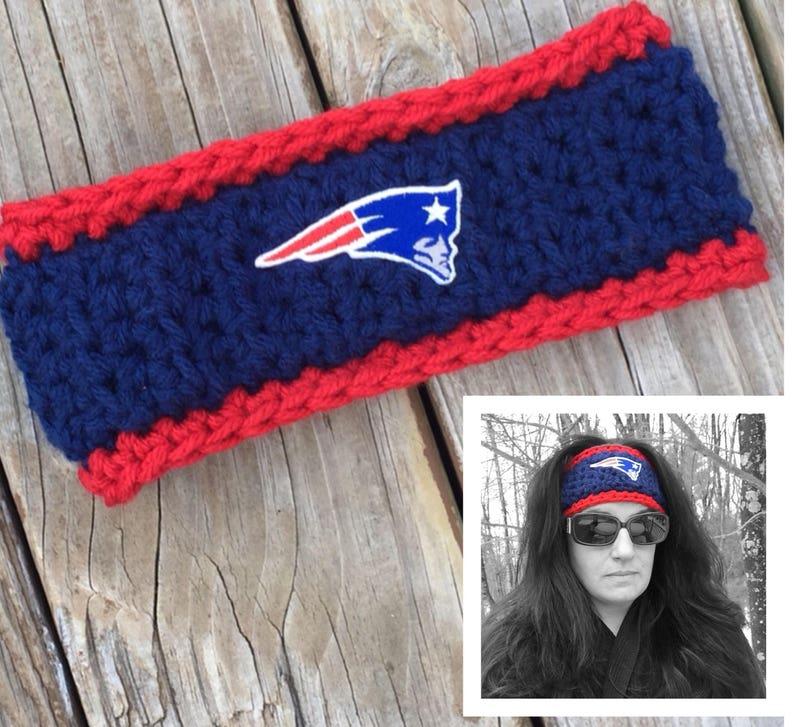 c98c7c76 Patriots Headband Ear Warmer New England Patriots Headband NFL Headband  Patriots Ear Warmer Crochet Patriots Hat Super Bowl