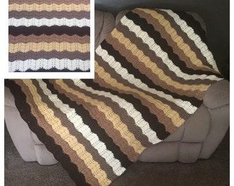 Crochet Afghan Ripple Blanket Ripple Throw Couch Blanket Lap Blanket Sofa Throw Handmade Blanket
