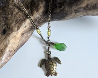 Turtle Charm and Beach Glass Necklace