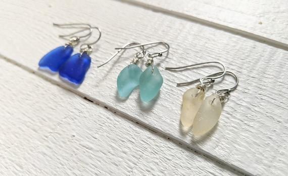 Everyday Wear Summer Jewelry Beach Glass Jewelry Genuine Sea Glass Mother/'s Day Gift Sea Glass Jewelry Sea Glass Earrings Beachwear