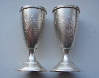 2 Soviet vintage silver shot glasses, liqueur glasses, cordials, aperitif, silver stemware