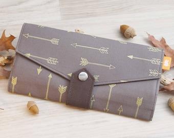 Golden arrow brown clutch wallet, Handmade fabric Wallet, Family travel wallet, Womens credit card holder, Brown long purse