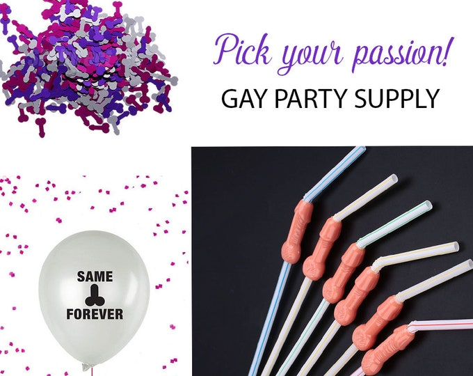 Bachelorette Party Decorations, Penis Straws, Same Penis Forever Balloons, Penis confetti, dicky straws, Willy straws,  Penis Party Kit