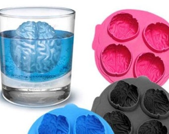 Brain Mold, Halloween Silicone Skull Mold,Jello, Ice Cubes Tray and Resin or Candle Mold, Brain Chocolate Mold, Brain Candy Mold, Soap