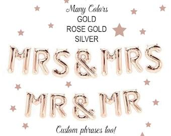 """Mr & Mr Balloon Banner, Mr and Mr Wedding Banner with Tassels, Mrs and Mrs 14"""" Balloons, Gay Wedding Balloons, Mr and Mr balloons, Pride"""