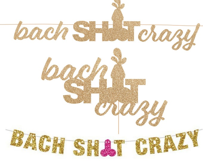 Bach Shit Crazy Banner, Bachelorette Banner, Bachelor Banner, Glitter Banner, Wedding Shower Decor, XRated Decor