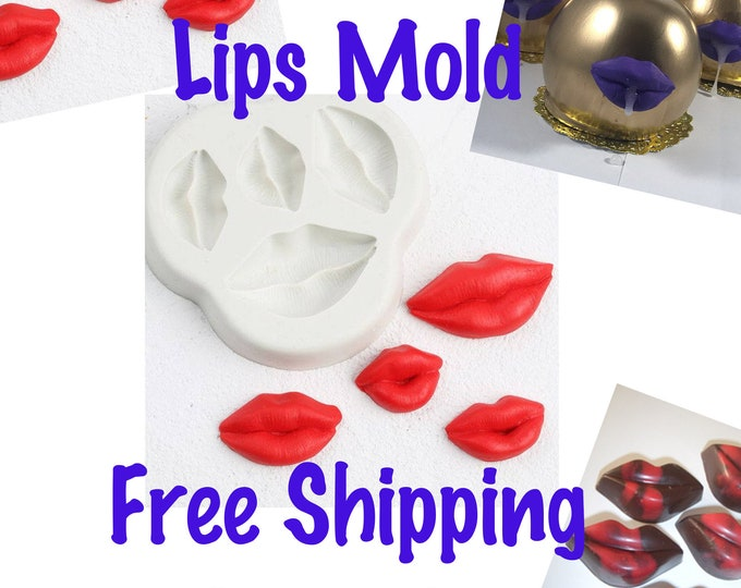 Lips Mold, Silicone Lips Mold, Free Ship Mouth Mold, Tit Mold, Lips Candle Mold, Lips Chocolate Mold, Candy Mold, Lips Soap Mold, Jello Mold