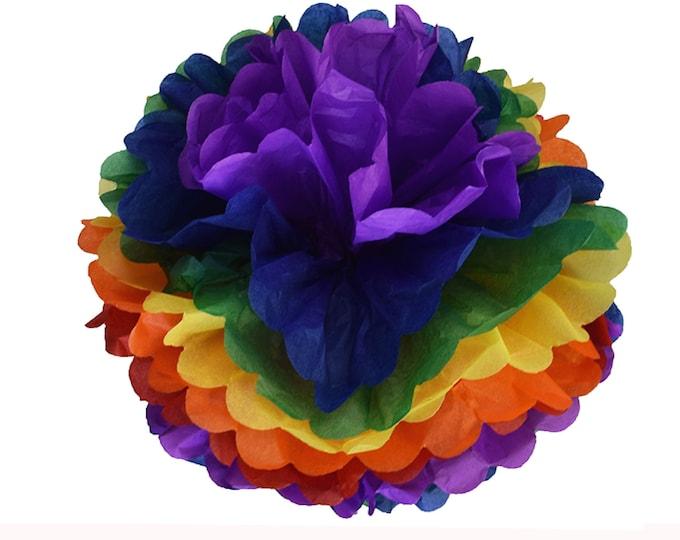 Rainbow Poms, Rainbow Party Decorations, Rainbow tissue poms, Rainbow Flowers, LGBTQ Party Decor, Pride, Rainbow, Gay Pride Decorations