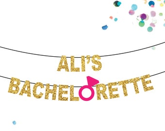 Bachelorette Party Decoration Banner Custom, Personalize Your Name, Bridal Shower Party Decor, Engagement Ring Sign