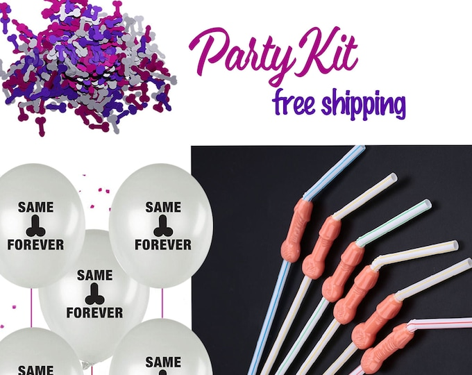 Bachelorette Party Decorations Kit, Penis Straws, Same Penis Forever Balloons, Penis confetti, dicky straws, Willy straws,  Penis Party Kit