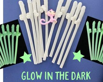 Glow in the DARK Penis Straws, 10+ Dick Halloween Straws, Willy or mixed color, penis straws, dicky straws, Bachelorette Party Straws