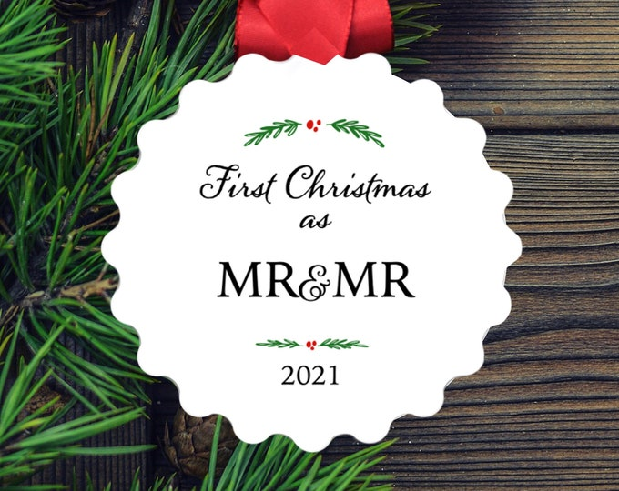 Mr and Mr Christmas Ornament, Gay First Christmas Married 2021 Wedding Gift, LGBTQ Newlywed Ornament, Pride, Same Sex Marriage, Shower gift