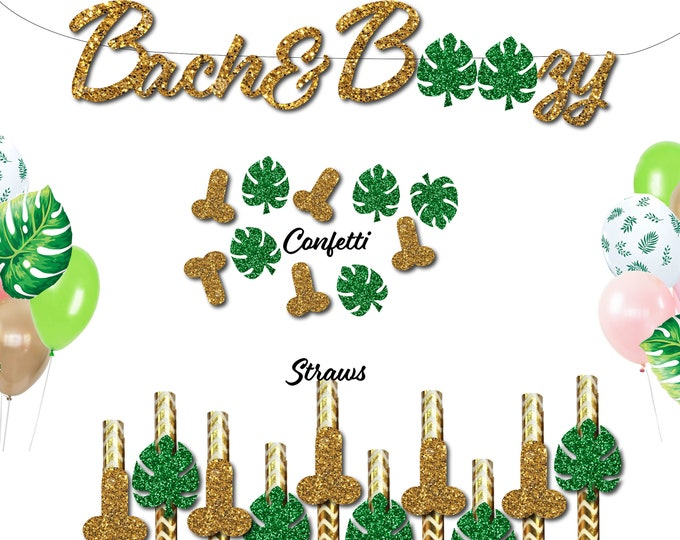 Bachelorette Party Penis Straws, Bach and Boozy Banner, Palm Leaf Confetti Decorations, Tropical Party Balloons Bach and Boujee Palm Springs