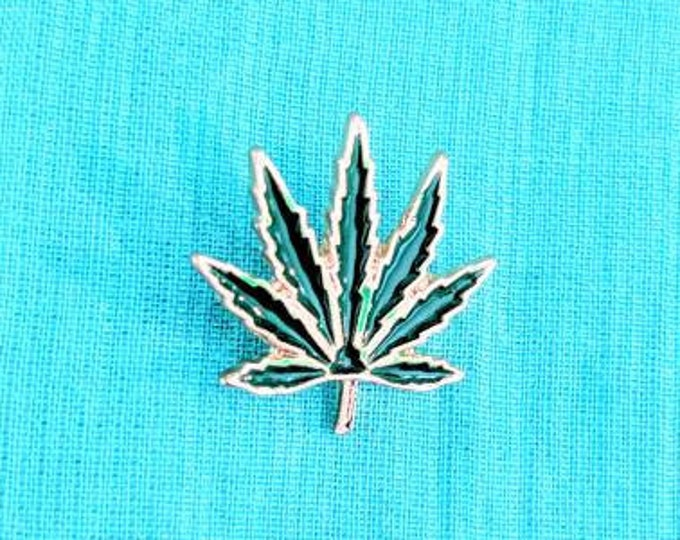 Pot Leaf Enamel Pin, Cannabis Enamel  Marijuana Pin, Heady Festival Hat and Lapel Pin Badge, Herb 420 Pot Smoker Gift