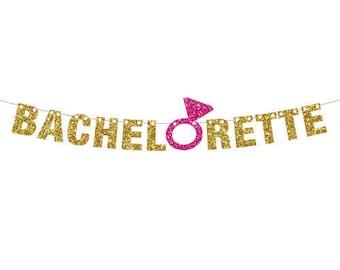 Bachelorette Party Banner Gold, Engagement Ring Banner, Cruise ship door decor, Glitter Wedding Shower Decor