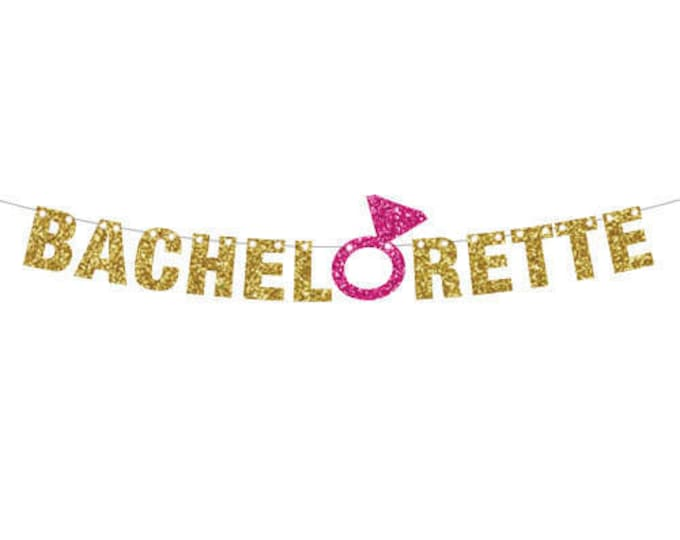 Bachelorette Party Decorations Banner, Engagement Ring Banner, Cruise ship door decor, Glitter Wedding Shower Decor