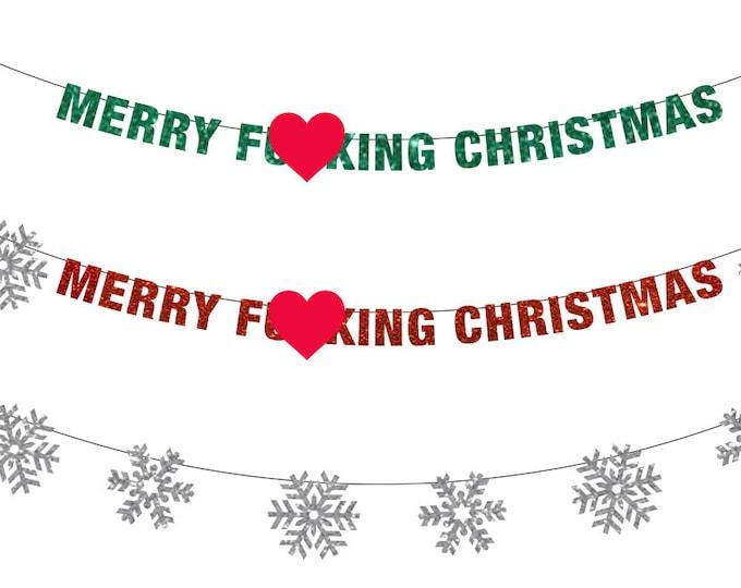 Merry F**king Christmas Banner, Christmas Banner, Christmas Decor, Crass Christmas, Happy Festivus, Merry Fucking Christmas, Funny Christmas