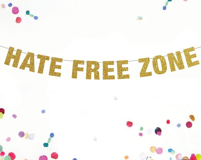 Hate Free Zone Banner, Rights for all, Hate Free Zone, Pride Banner, LGBT Banner, Gay Pride, Lesbian Pride, Equal Rights Banner