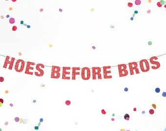 Hoes Before Bros Banner, Custom Banner, Bachelorette Banner, Lesbian Party Banner, Parks and Recs Banner Party LGBTQ Pride decor