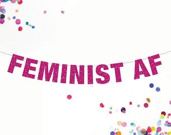 Feminist AF Banner, Feminist Banner, Female Power Banner, Custom Banner Colors, Girl Power Banner