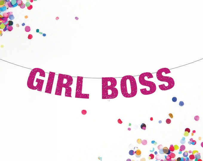 Girl Boss Banner, Feminist Banner, Boss Lady Banner, Work Party Banner, Office Decor, Custom Banner