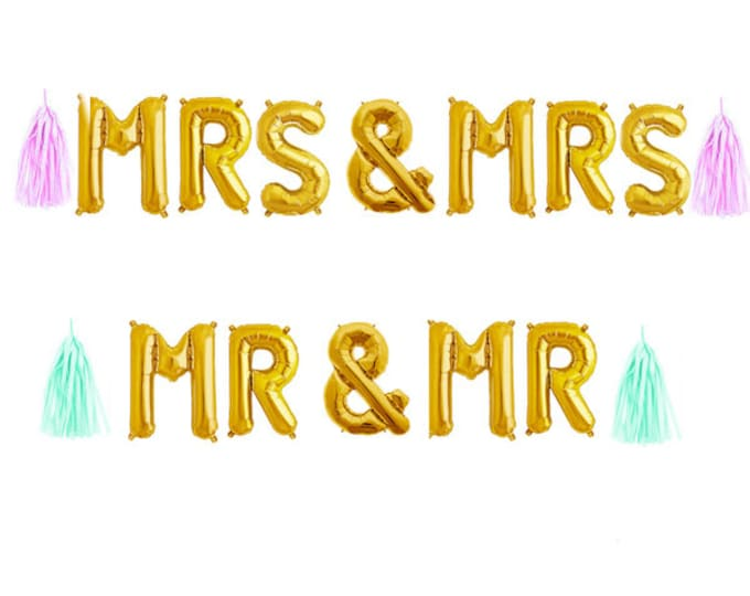 "Mrs & Mrs Balloon Banner Garland with Tassels, Mrs and Mrs Banner 14"" , Rose gold, Gold and Silver Wedding Balloons, Engagement, Engaygment"