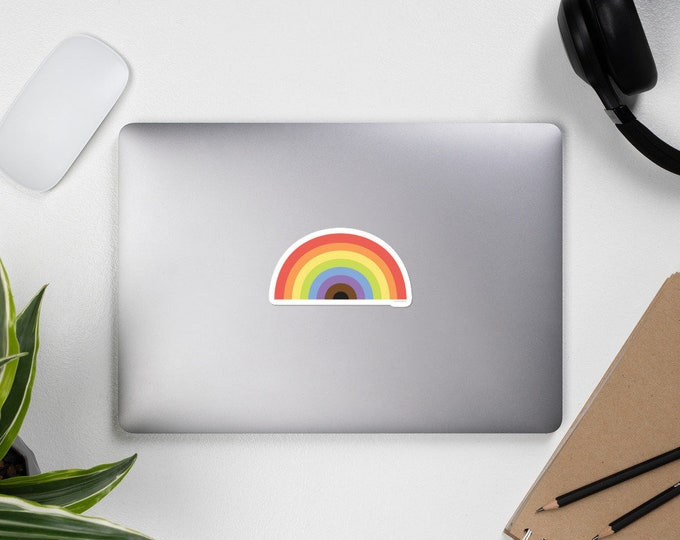 Rainbow Sticker, bumper or computer sticker , weather rain sticker, high quality LGBTQ Pride decor, Gift for her, him, they, them