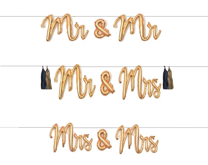"Mr and Mrs, Mrs & Mrs, Mr and Mr Script Balloon Banner Garland with Tassels, 39""  Gold Wedding Balloons, Engagement, Engaygment"