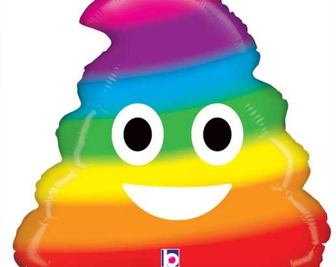 Rainbow Poo Emoji Balloon, Poop Emoji, Funny Balloon, Poo Balloon, Funny Party Decor, Pride, Rainbow, Funny Party decorations