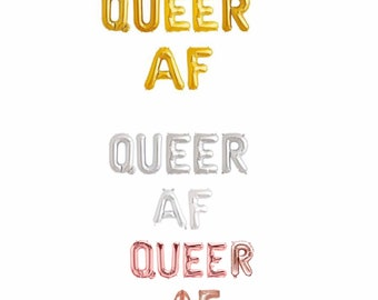 """Queer AF Balloon Banner, LGBTQ pride decoration, Pride Banner 14/16"""", queer af party decor, Rose gold, Gold and silver"""