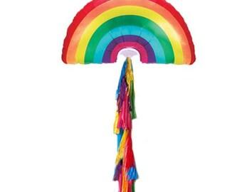 Rainbow balloon with tassel, rainbow party decor, gay pride balloon with tassel multi colored tassel, Pride Balloons, Pride Party Decor