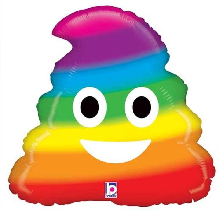 Rainbow Poo Emoji Balloon, Poop Emoji, Funny Balloon, Poo
