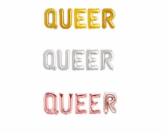 """Queer Balloon Banner, LGBTQ pride decoration, Pride Banner 14/16"""", queer party decor, Rose gold, Gold and silver, rainbow"""