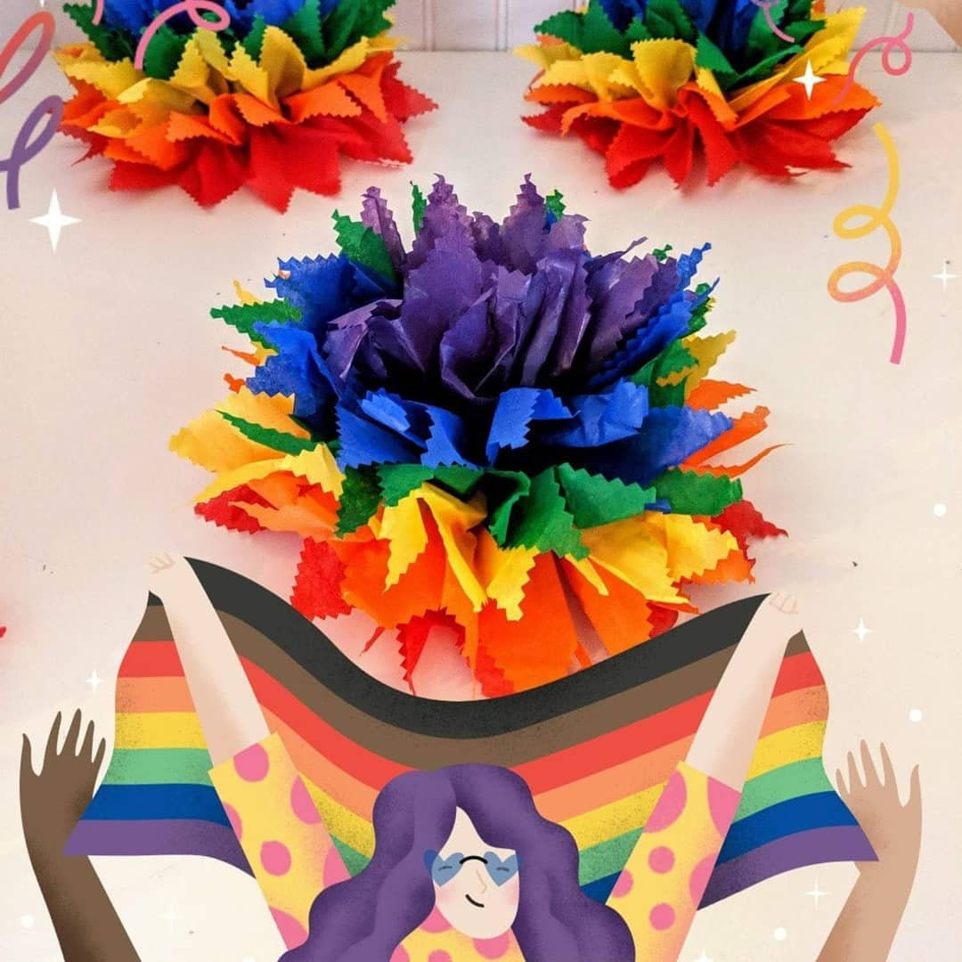 Rainbow Poms Rainbow Party Decorations Rainbow Tissue Poms