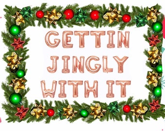 Gettin jingly with it, jingle and mingle balloons, jingle all the way, jingle juice Christmas party decor, jingle party party decorations
