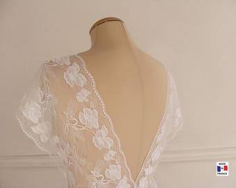 White French lace trim by the yard - 7,48'' wide