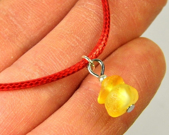 Red thread bracelet with natural genuine Baltic Amber gemstone minimalist authentic women's jewelry FREE SHIPPING 2736