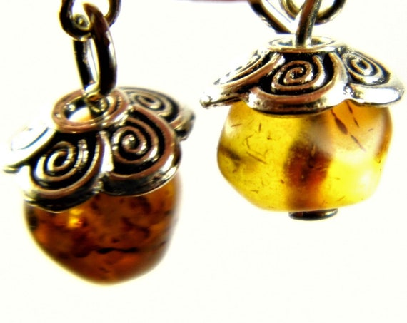 Unpolished natural genuine real Baltic Amber stone earrings 1.6 grams authentic women's jewelry FREE SHIPPING 102z