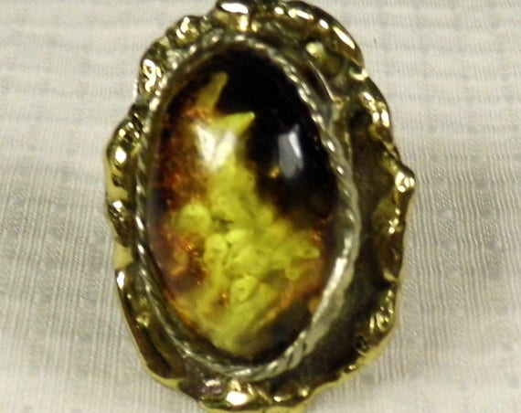 Natural genuine brindled Baltic Amber stone and Brass ring old vintage antique retro authentic women's jewelry 9.7 grams FREE SHIPPING 1481