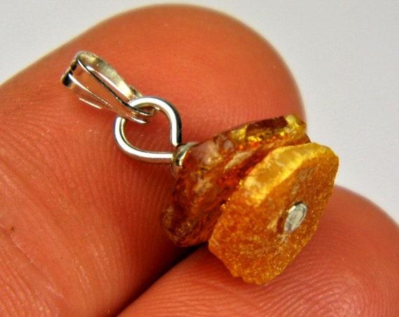 Natural genuine Baltic Amber raw rough unpolished stone pendant unique women's jewelry authentic rare 2533