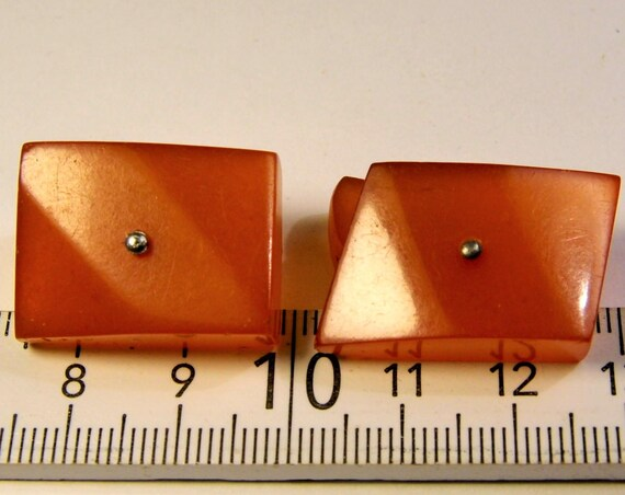 Toffee / brown color Pressed Baltic Amber men's cuff-links old vintage antique retro authentic unique rare jewelry FREE SHIPPING! 1651