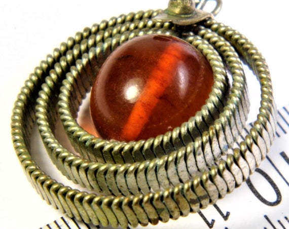 Baltic Amber old vintage antique retro authentic pendant women's jewelry Cognac / honey / transparent Pressed 14 grams FREE SHIPPING 1334