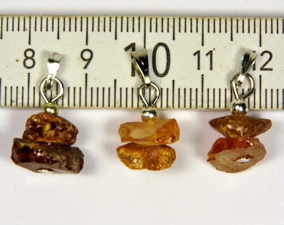 Lot of 3 Natural genuine Baltic Amber raw rough unpolished stone small pendants 2.2 grams unique women's jewelry authentic rare 2536